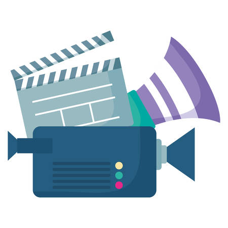 videocamera and movie clapboard over white background, vector illustration