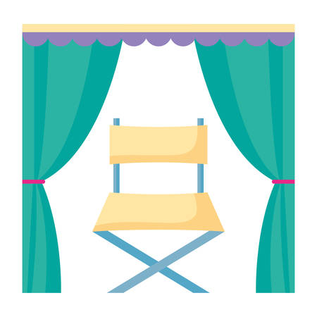 curtains with director chair icon over white background, vector illustration
