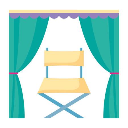 Rideaux avec icône chaise directeur sur fond blanc, vector illustration