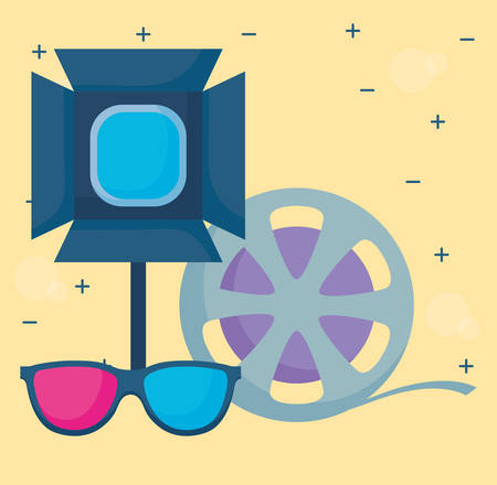 studio lamp with film roll and 3D glasses over yellow background, vector illustration Illustration