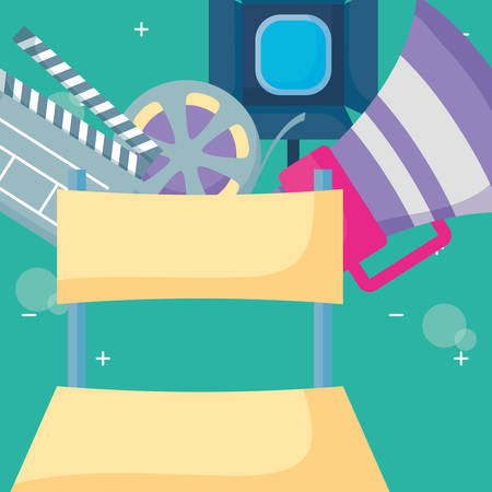 director chair with cinema related icons over background, colorful design. vector illustration