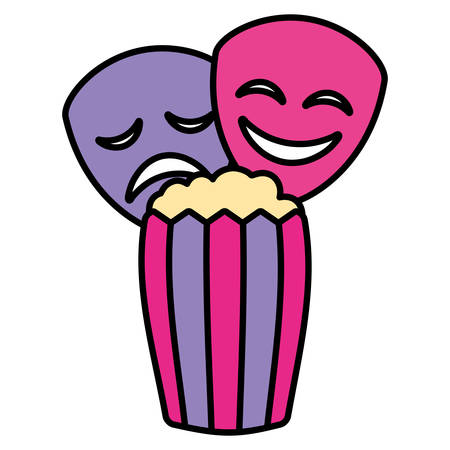 theatre faces masks and pop corn over white background, vector illustration