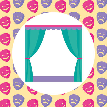 Curtains over colorful  background, vector illustration