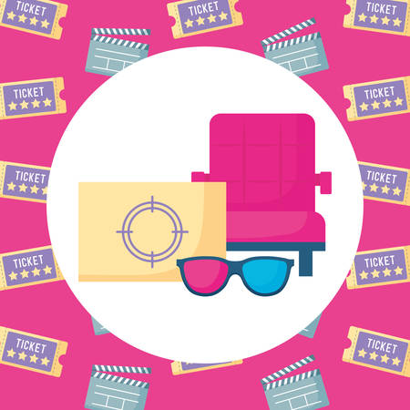 cinema chair with related icons around over colorful background, vector illustration