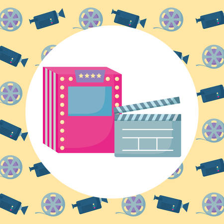 movie clapboard and ticket machine over colorful  background, vector illustration Ilustração