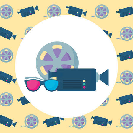 video camera with 3D glasses and film roll over yellow background, vector illustration Illustration