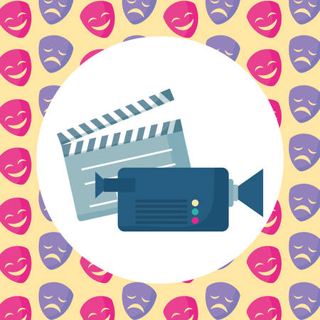videocamera and movie clapboard over colorful background, vector illustration