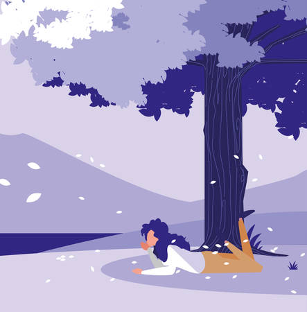 relaxed woman under a tree over landscape background, colorful design. vector illustration
