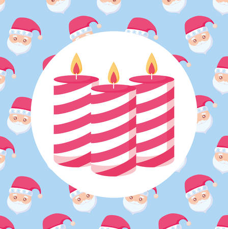 Chritsmas candles over colorful background,  vector illustration