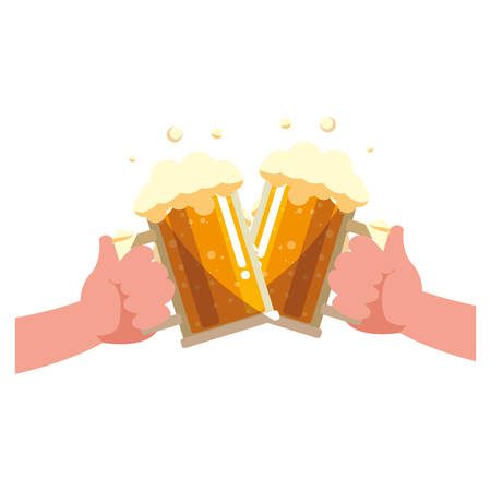 hands with beer mug glasses icon over white background, vector illustration