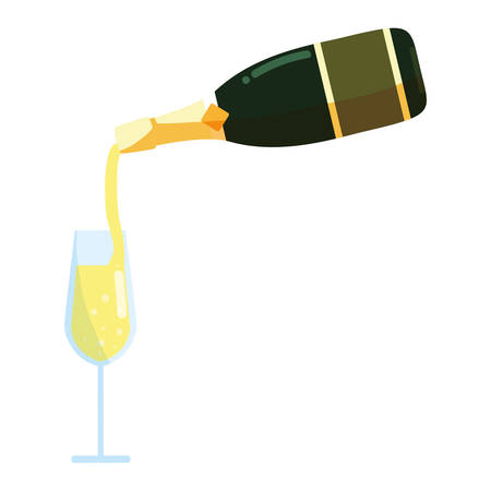 Champagne Pouring Into Glass from Bottle over white background, vector illustration