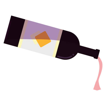 wine pouring from the bottle over white background, vector illustration