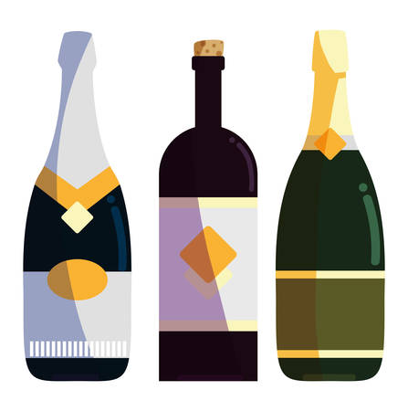 champagne and wine bottles over white background, colorful design. vector illustration Illustration