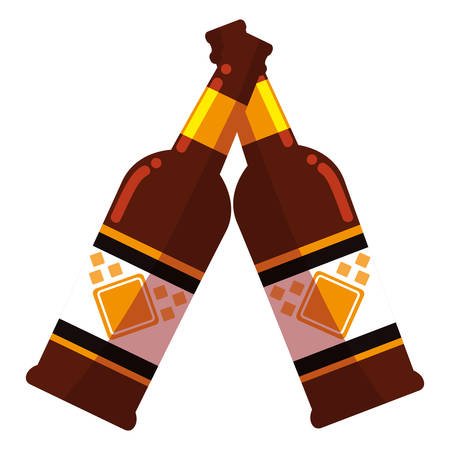 Beer bottles over white background, vector illustration Ilustração