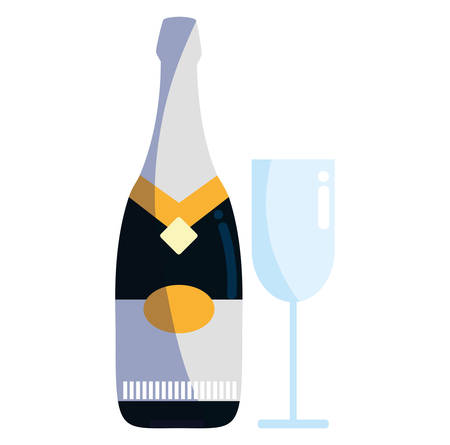 Champagne bottle and glass icon over white background, colorful design, vector illustration