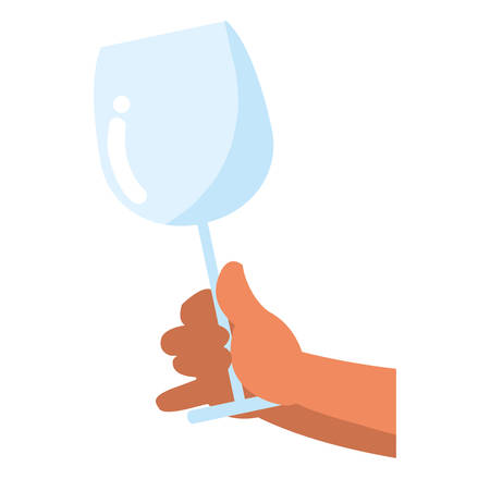 hand holding a empty champagne glass over white background, vector illustration