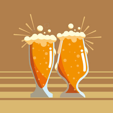beer glasses icon over brown background, vector illustration