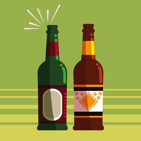 Beer bottles over green  background, vector illustration