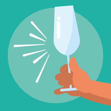 hand holding a empty champgne glass over blue background, vector illustration
