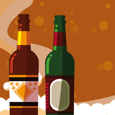 Beer bottles over brown  background, vector illustration