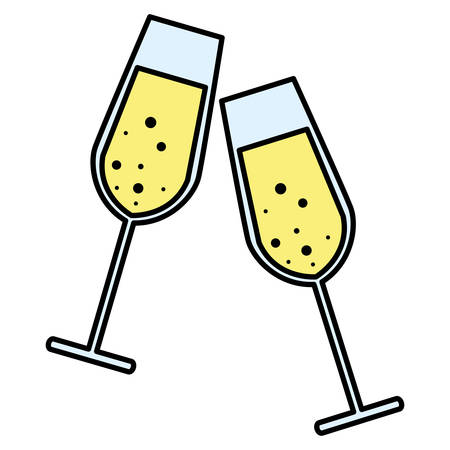 Champagne glasses over white background, vector illustration Stock Illustratie