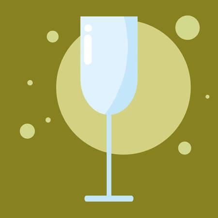 empty champgne glass over green background, vector illustration Иллюстрация