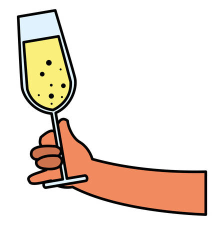 hand holding a champagne glass over white background, vector illustration Stock Illustratie