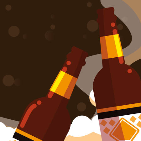 Beer bottles over black background, vector illustration
