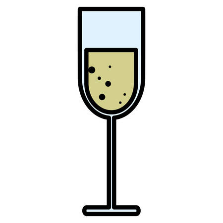 Champagne glass icon over white background, vector illustration
