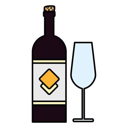 wine bottle and glass over white background, vector illustration