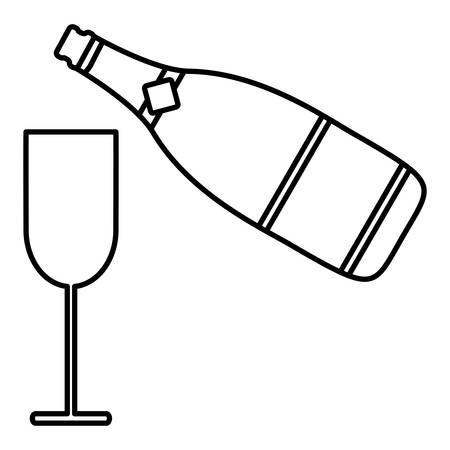 Champagne bottle and glass icon over white background, vector illustration