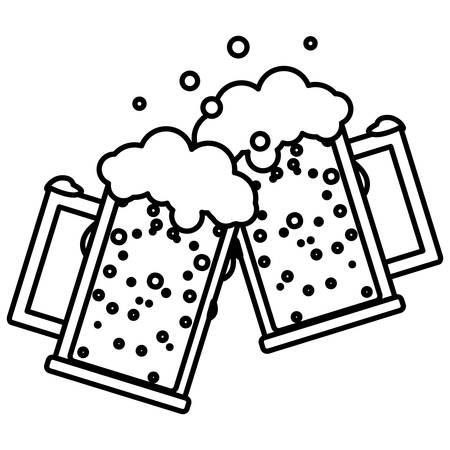 beer mug glasses icon over white background, vector illustration