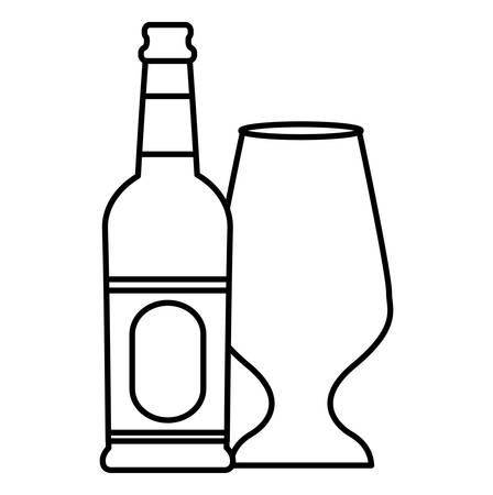 Beer bottle and glass over white background, vector illustration