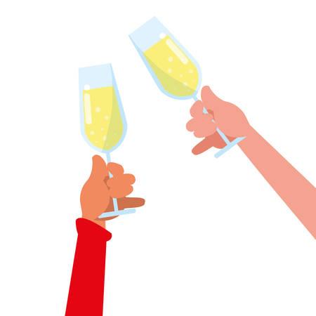 hands holding up a champagne glasses over white background, vector illustration
