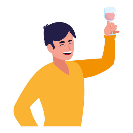 Happy man enjoying a alcohol drink over white background, colorful design, vector illustration Ilustração