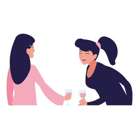 cartoon two women enjoying wine over white background, vector illustration