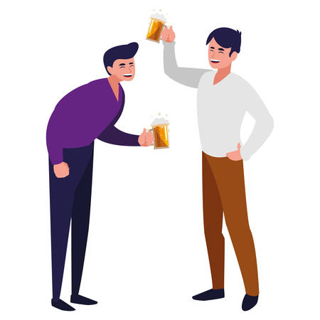 cartoon happy men over white background, vector illustration Illustration