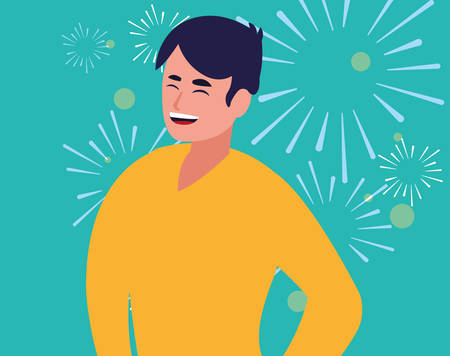 cartoon man wearing casual clothes over blue background, vector illustration