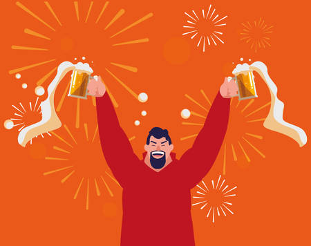 cartoon excited man holding up a beer mugs over orange background, vector illustration Illustration
