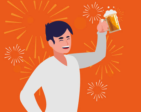 Happy man enjoying a alcohol drink over orange background, vector illustration