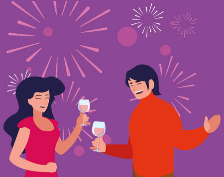 Happy couple enjoying a wine over purple background, vector illustration