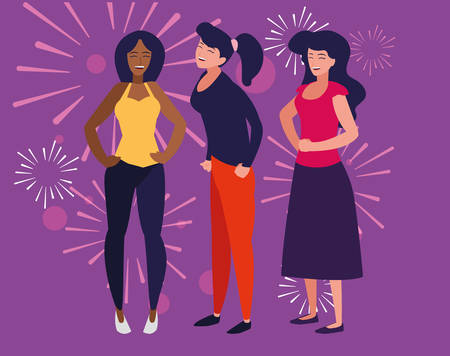 cartoon women enjoying a party over purple background, vector illustration