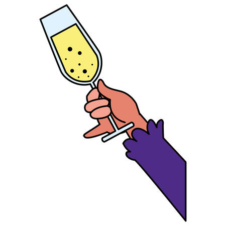 Hand holding up a champagne glass over white background, vector illustration