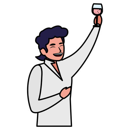 Happy man enjoying a alcohol drink over white background, vector illustration
