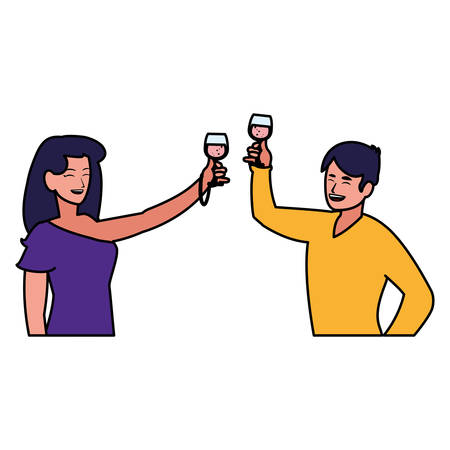 cartoon happy couple enjoying with cocktails over white background, vector illustration Иллюстрация