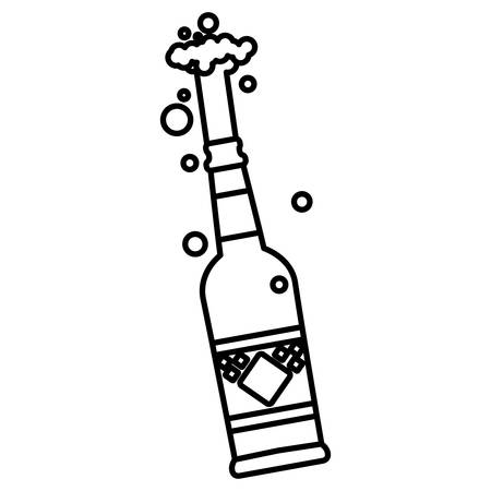 Beer bottle with splash over white background, vector illustration Ilustração