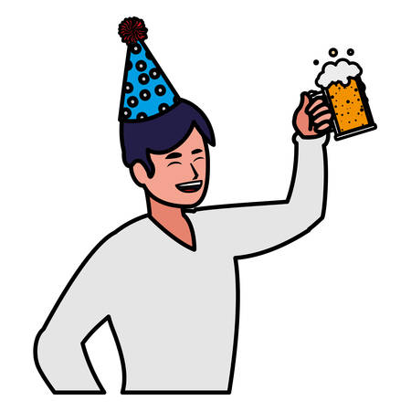 happy man with party hat and holding a drink over white background, vector illustration