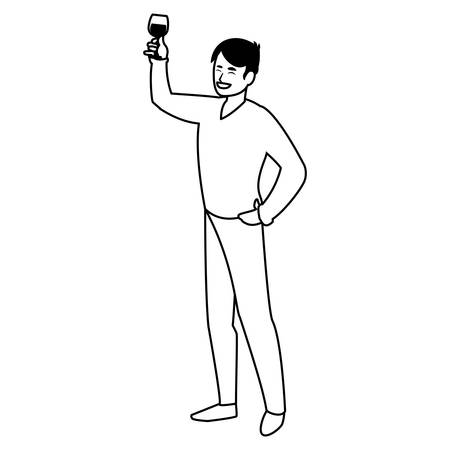 cartoon man holding a wine glass over white background, vector illustration