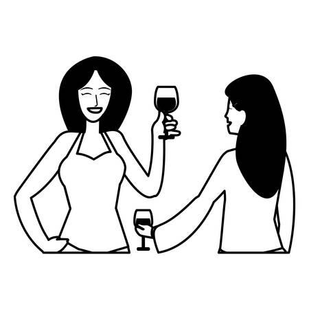 Dibujos animados de dos mujeres disfrutando del vino sobre fondo blanco, ilustración vectorial Ilustración de vector