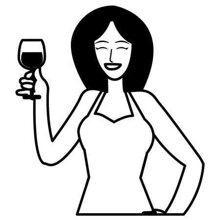 Cartoon donna tenendo un bicchiere di vino su sfondo bianco, illustrazione vettoriale